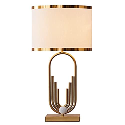 YMNLZ Lámpara de Mesita de Noche Moderna, Lámpara de Mesa Dormitorio con Pantalla de Tela Nórdico Dorado Metal Lámpara de Escritorio para Dormitorio, Sala de Estar, Comedor, Oficina