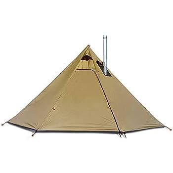 JTYX Tente Pyramid Tipi Tentes Chaudes avec Trou de Poêle Windows Camping en Plein Air Famille Tipi Tente pour 2-4 Personne