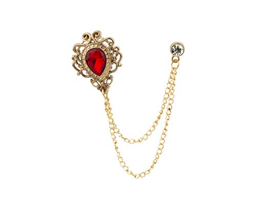 Knighthood Stone with Gold Engraving Swarovski Chain Brooch/Lapel Pin (Red)