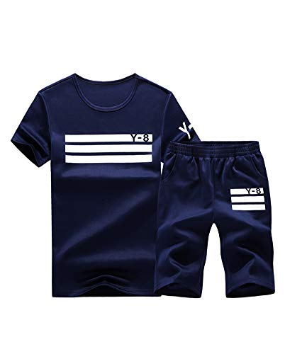 Lavnis Men's Casual Tracksuit Short Sleeve Running Jogging Athletic Sports Set Blue S