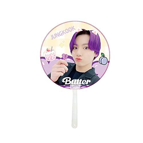 Bestomrogh Kpop BTS Butter Abanico Suga V Jungkook Jimin Jin V J-Hope Abanico de mano redondo ventilador de mano ventilador de mano regalo para BTS Army (Jungkook)