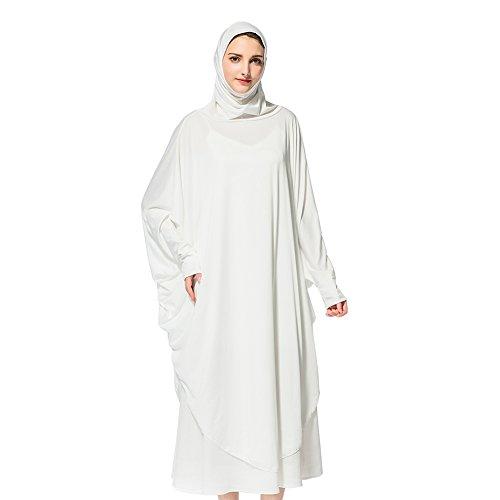 Hougood Hijab Schal Lange Kopftuch Frauen Muslimische Feste Schals Chadors Arabien Islamische Gebet Kleid Muslimische Kleidung Hijab Kleider Frauen Muslim Bat's-Flügelhülsen Kleid Hijab