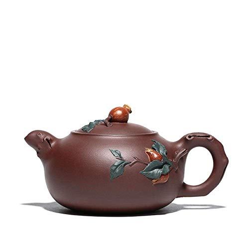 DX Zisha theepot, handgemaakte vintage retro unieke oosterse origineel ontwerp paars klei keramische thee pot, 360ml, granaatappel fruit snijwerk