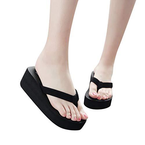 Mujer Chanclas de Plataforma Sandalias de Playa de Cuñas Negras Comodas de Tacón Alto con Pies Zapatillas de Plataforma Color Sólido para Mujer Damas Chanclas Pendiente Antideslizante Beach