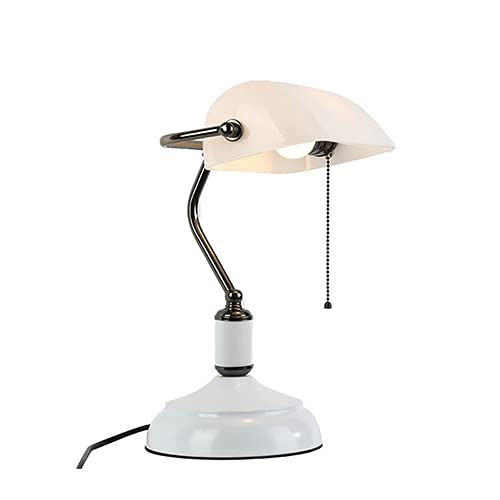 xingwang Pantalla rústica lámpara de mesa vintage industrial estudio art decó vidrio dorado manchado verde europeo clásico (color emisor: enchufe de EE. UU., pantalla de lámpara: blanco)