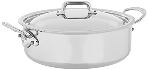 Mauviel Made In France M'Cook 5 Ply Stainless Steel 5.8-Quart Rondeau with Lid, Cast Stainless...