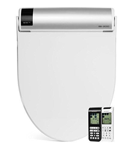 BioBidet Bliss BB2000 Elongated Beige Bidet Smart Toilet Seat, Premier Class, Unlimited Warm Water, Self Cleaning Hydroflush, Hybrid Heating, Wireless Remote Control, Inviting Nightlight, Vortex Wash