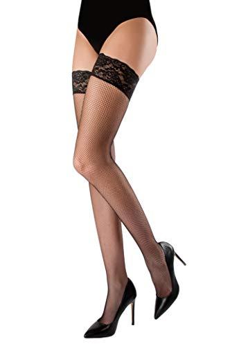 WOOTI TIGHTS autoreggente microrete MARGHERITA, M-L NERO, calza a rete, sexy, elegante, colorata, morbida e resistente