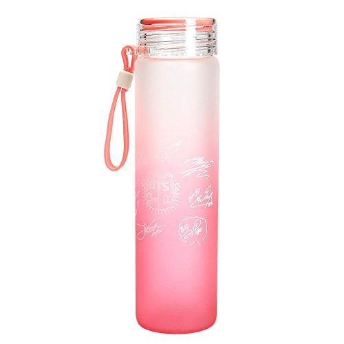 Kingmia KPOP BTS Bangtan Boys Wasserflasche Sommer Gradienten Milchglas Zitrone BPA Freie Glasflasch (Pink)