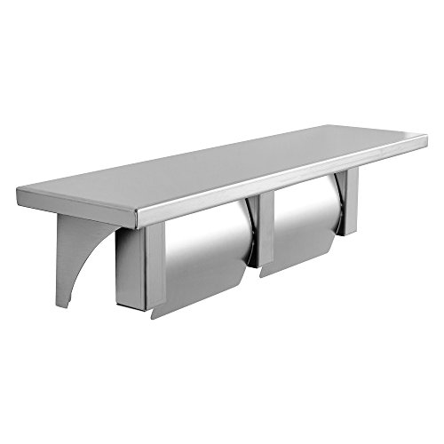 Dependable Direct Double Roll Toilet Paper Holder and with Phone Shelf - Stainless Steel - Satin Finish