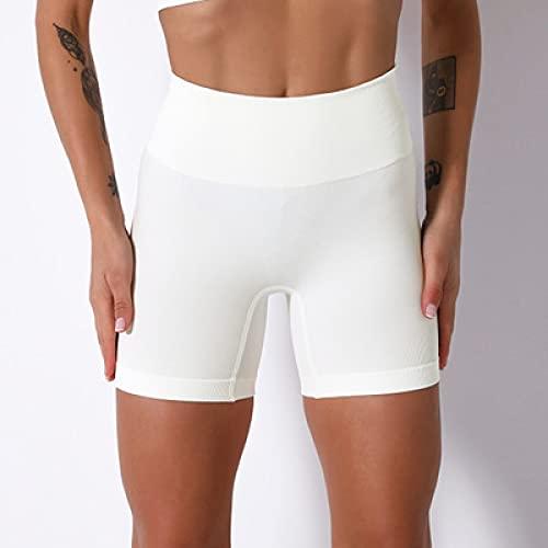 TENGCHUANGSM Pantalones cortos deportivos sin costuras para mujer Push Up de cintura alta Pantalones cortos elásticos Sólido Slim Yoga Fitness Running Shorts