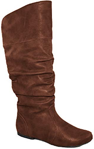 Qupid Women's Neo144 Leatherette Basic Slouchy Knee High Flat Boot,Cognac Pu,7
