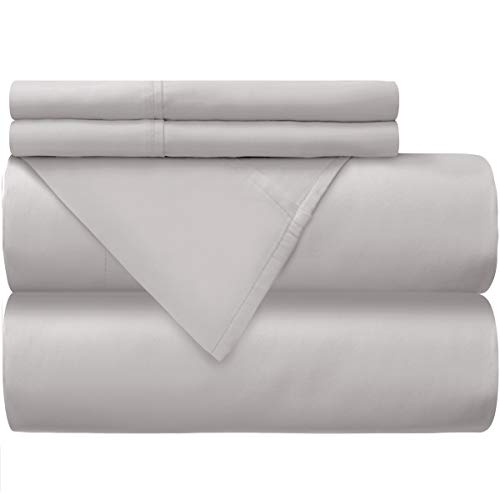 Mellanni 100% Cotton Bed Sheet Set - 300 Thread Count Percale - Deep Pocket - Quality Luxury Bedding - 4 Piece (Queen, Light Gray)