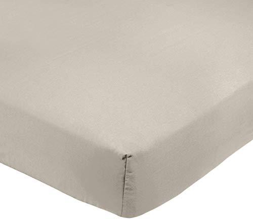AmazonBasics - Sábana bajera ajustable (polialgodón 200 hilos) Gris - 200 x 200 x 30 cm