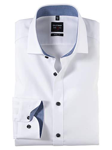 OLYMP Herren Oberhemd Langarm Level Five,Uni,Body fit,Royal Kent,Weiß 00,40