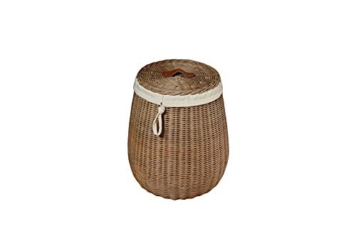 Sechome B10-BET Cesto Portabiancheria Rotondo con Coperchio Midollino Naturale, sfoderabile, Handmade, Eco sostenibile, Vimini