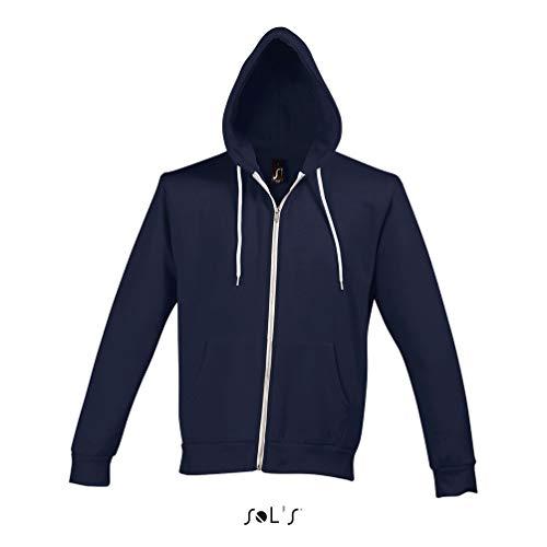 SOL'S Silver – Sweat Mixte à Zip - Bicolore à col Rond - Look Fashion - Bleu Abyss - L