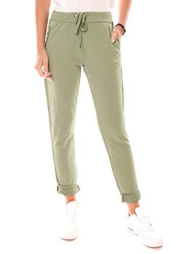 Easy Young Fashion Damen Hose Jogginghose Lang Sporthose Trainingshose Baumwolle Jogg Pants Sweatpants mit Seitenstreifen Khaki XL 42