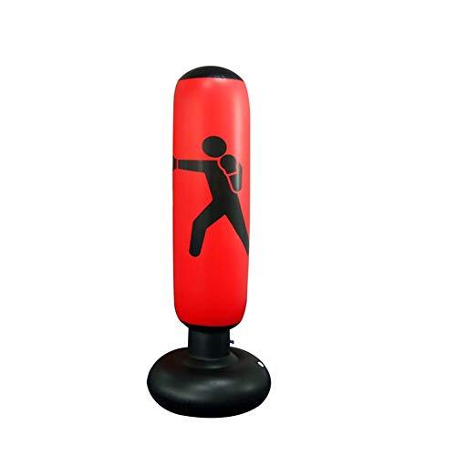 AILUOR - Saco de boxeo hinchable para entrenamiento de golpes y patadas, con forma de torre, saco de arena para niños, para practicar fitnes, deportes, juegos, liberación de estrés, 160 cm, rojo