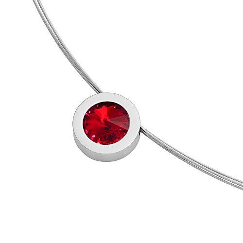 Heideman Halskette Damen Coma 16 aus Edelstahl silber farbend poliert Kette für Frauen mit Anhänger Swarovski Stein Kristall siam rot im Fantasie Edelsteinschliff