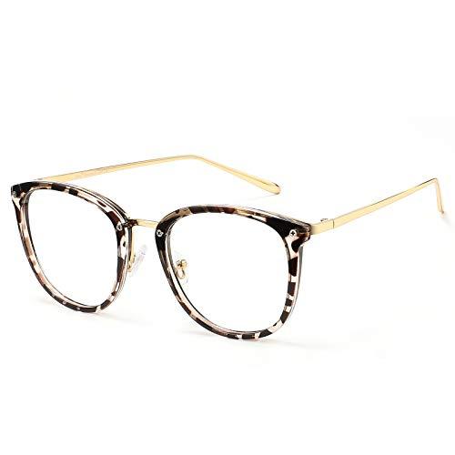 Cyxus Rund Brille mit Blaulichtfilter TR90 Ohne Sehstärke, Anti Blaulicht von Laptops, Handy, PC und Andere Bildschirme,Leopard