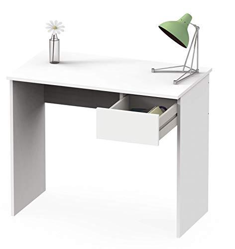 Abitti Escritorio Mesa de Ordenador Multimedia Color Blanco Mate con cajón para Oficina, despacho o Estudio. 90cm Ancho x 75cm Altura x 50cm Fondo