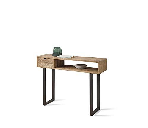 HOGAR24 ES Angi 100- Mueble Recibidor-Entrada, Diseño Industrial-Vintage, Cajón Y Estante, Madera...