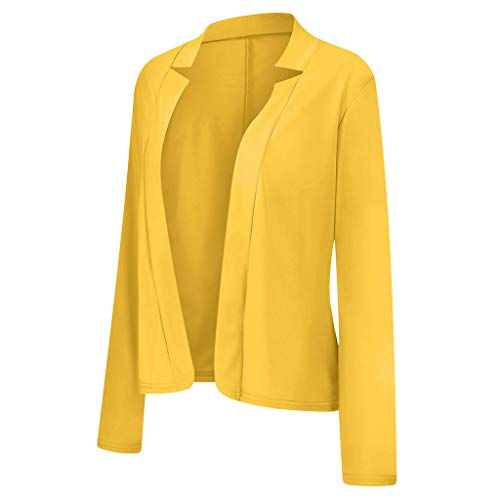 Rikay Womens Long Sleeve Cardigan Jacket Open Front Work Office Stand Collar Blazer Plus Size 8-22 UK Sale Yellow