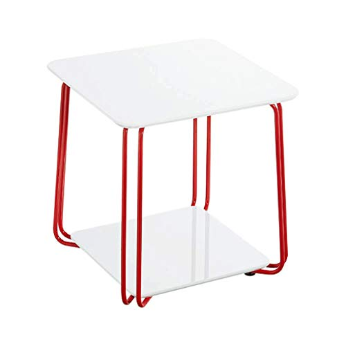 FENXIXI Pequeña Mesa de Centro - Patas de la Estructura rústica Diseño Robusto de Metal Industrial de la Vendimia Mesa de cóctel Sofá Tabla de Almacenamiento Estante Inferior for Sala de Estar