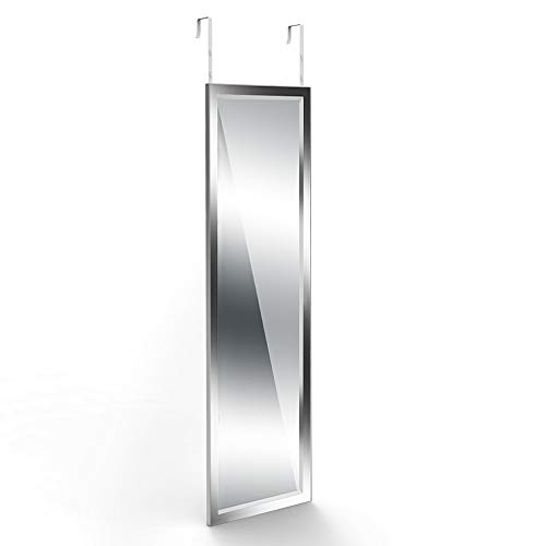 Dripex Over Door Mirror Full Length, Wall Mounted Mirror Door Hung Mirror for Bathroom/Bedroom/Wardrobe - Toughened Glass, Silver