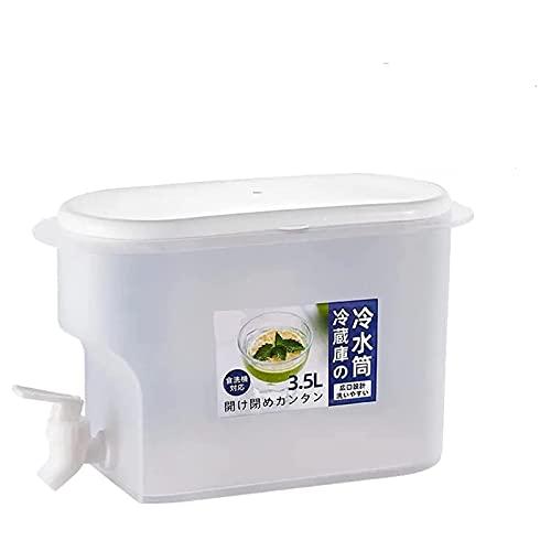HUONIUPIC Dispensadores de Bebidas heladas de 3500 ml con Almacenamiento, Jarra de Agua con Grifo, Jugo de limón, Jarra Resistente al Calor (Color : White)