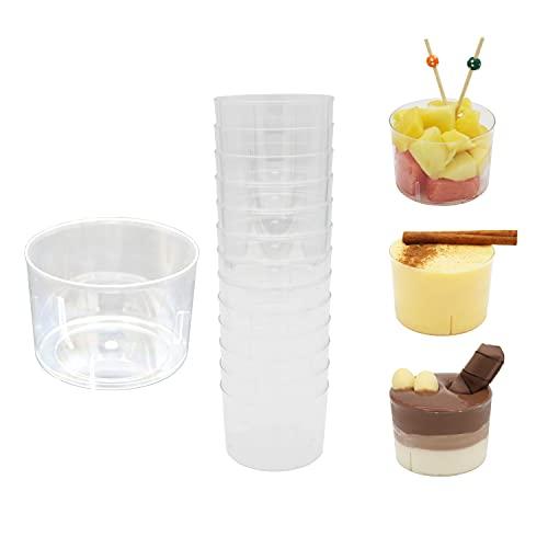 8around-52 Vasos para postres,210ml,de plástico transparente reutilizables,vasitos aperitivos útiles para mouse de chololate,souffle,postres, frutas,aperitivos,entrantes,coctel de marisco
