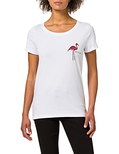 Only ONLKITA Summer T-Shirt JRS Camiseta, Blanco. Detalles: Flamenco Seq Small, S para Mujer