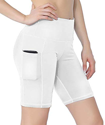 HuaTu Women Performance Compression Shorts with Side Pocket (White, Large Waist 25.98-39.37inch)