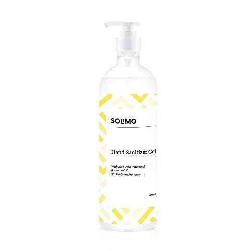 Amazon Brand - Solimo Hand Sanitizer Gel - 500 ml (Lemon Oil)