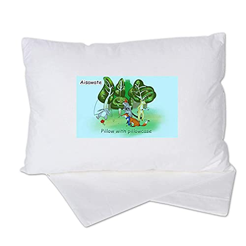 Toddler Pillow with Pillowcase - 13 X 18 Soft Organic Cotton Baby Pillows for Sleeping - Baby Boys Girls Bedding Small Pillow Perfect for Travel, Toddler Cot, Bed Set, Machine Washable