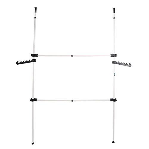Carril de Ropa Plegable, Perchero DIY Percha Ropa Armario de Acero con 2 Polos y 2 Travesaños Resistente para Colgar Ropa Telescopica Altura Ajustable