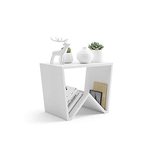 Mobili Fiver, Tavolino da Salotto Emma, Frassino Bianco, 50 x 33 x 40 cm, Nobilitato, Made in Italy