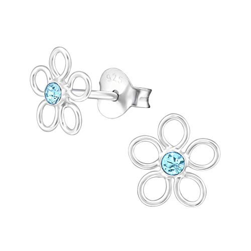 Flower stud earrings for girls 925 sterling silver with sparkly crystal in various colours anti allergy hypoallergenic nickel free jewellery for sensitive ears gift box included (Aquamarine)