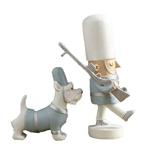 DGHJK Estatua Creativa Cascanueces Decoración de Marionetas Artesanía Estudio en el hogar Librería Escritorio Personalidad Decoración Estantería Estantería (Color: Rojo)