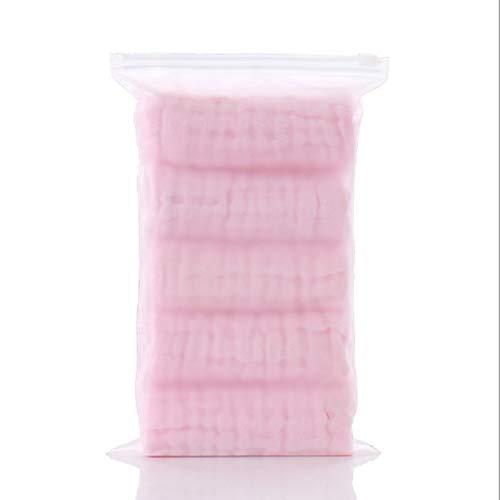 ZAIZAI 5 Unids/Lote Muselina 6 Capas De Algodón Suave Toallas De Bebé Toalla De Cara De Bebé Pañuelo De Baño De Alimentación Toallitas De Limpieza (Color : Pink)