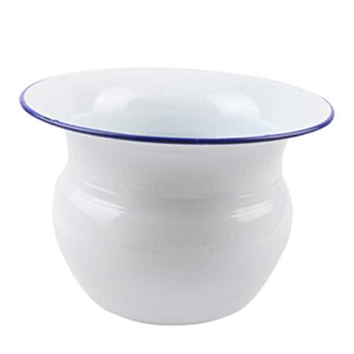 Orinales Olla De Cámara De Escupidera Tradicional Orinal Portátil para Adultos Inodoro para Niños Mayores, Escupidera De Metal Esmaltado Cubo De Acampada Urinarios (Color : White)