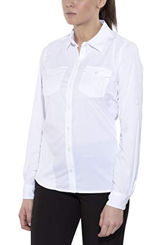Marmot Wm's Annika Long Sleeve T-Shirt Manche Longue, Chemise de randonnée, avec Protection UV, Respirante Femme White FR : S (Taille Fabricant : S)