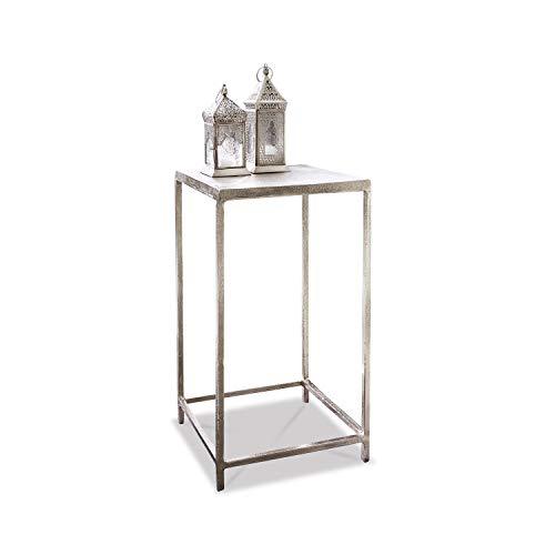 Loberon Beistelltisch Aino, Aluminiumguss, H/B/T 55/30 / 30 cm, Silber