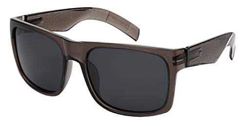 Super XXExtra Large Spring Hinge For Retro Square Rectangular Wide Frame Sunglasses Suitable For Men&Women (153MM, Clear Grey Frame/Grey lens)