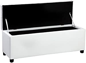 [corium] Banco otomano (119 x 38 x 45 cm)(blanco) arcón - taburete para almacenaje - tapizado - banco dormitorio