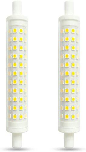 R7S LED 118mm Dimmerabile 10W,Azhien R7S 118mm Lampadina a Doppio Effetto Lineare,Bianco Caldo 3000K,10 Watt,Equivalente a 48W 60W 75W 118mm Lampada Alogena,230V AC 1000LM,Confezione da 2