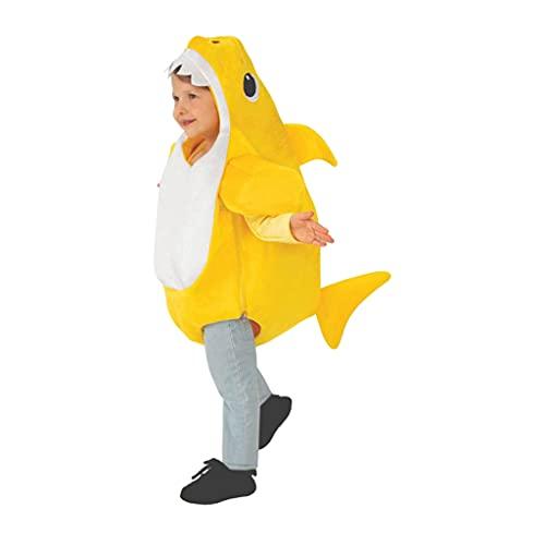 Hellery Traje Suave de Cosplay cómodo en Forma de tiburón Disfraz de tiburón para niños Disfraz de Animales de Dibujos Animados para Juegos de rol, - Amarillo 90
