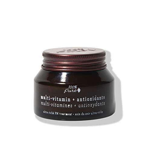 100% PURE Multi-Vitamin + Antioxidants Ultra Riche PM Treatment, 1.5 oz, Night Cream Facial Moisturizer with Vitamin C & Niacinamide, Skin Renewing, Anti-Aging, Long-Lasting Moisture