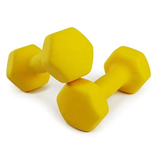 LUSTAR Mancuernas Hexagonales de Neopreno, Un Par, Pesas Amarillas 1KG 1.5KG 2KG 3KG 4KG 5KG para Levantamiento de Pesas de Fitness,Yellow-(4kg*2)